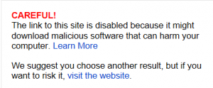 Bing's malware warning panel.