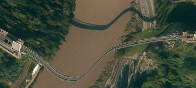 Clifton Suspension Bridge as it appears on Apple Maps