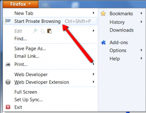 How to start Firefox private browsing