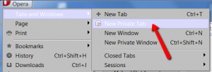 Opera's method to start Private Browsing