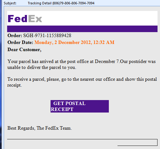 Example of spam from Fedex
