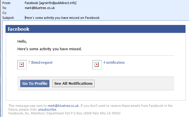 Example of a suspicious email which should be reported to Facebook