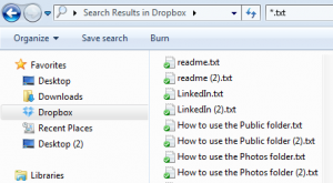 results searching for .txt in windows explorer
