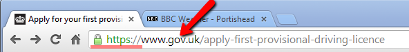 a dot gov web page example in Google Chrome