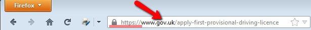 a dot gov web page example in Firefox