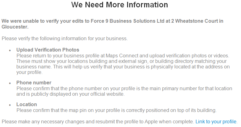 Apple's email, requesting images showing the office, confirmation of phone number and location on map.
