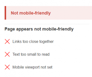 google's response to a non mobile friendly web page