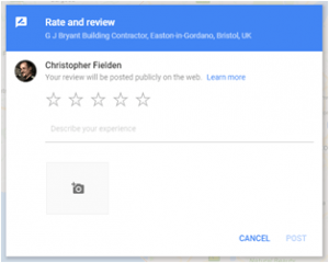 review entry pane, with star rating and comments box