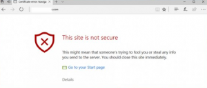 browser pop-up that shows when an SSL certificate is invalid