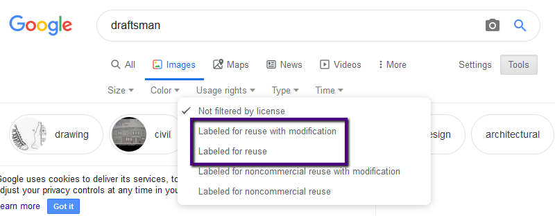 goggle image usage rights selector