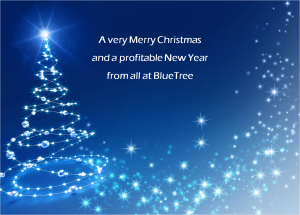 bluetree christmas tree and message
