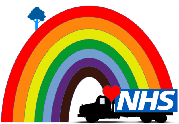 key workers rainbow with delivery truck, NHS logo and heart