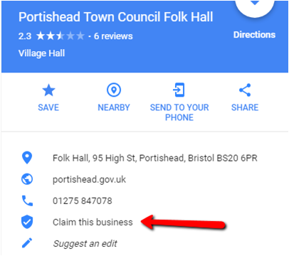 Example of an organisation in Portishead that hasn't claimed its Google My Business listing